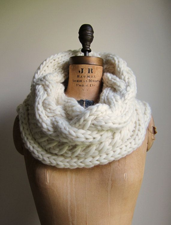 Oversized Cable knit cowl Cream Ivory Infinity scarf by Happiknits, looks super soft