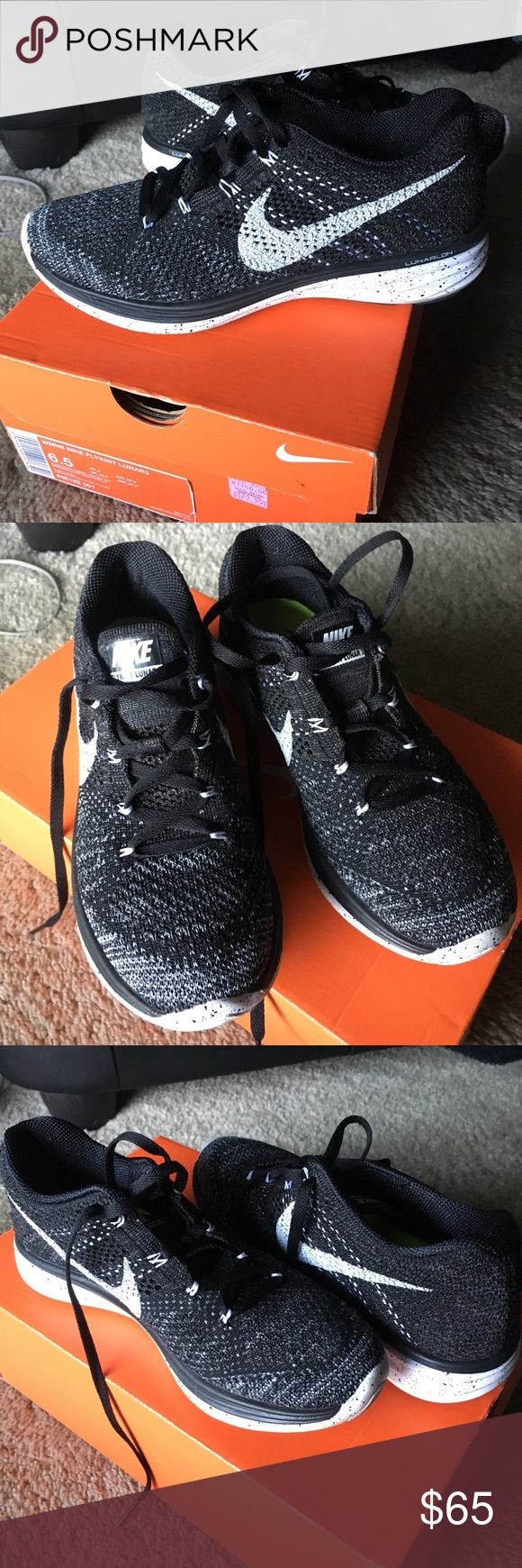 Nike Flyknit lunar 3 Nike Flyknit lunar 3 black and white women's size 6.5 in excellent condition barely worn Nike Shoes Athletic Shoes