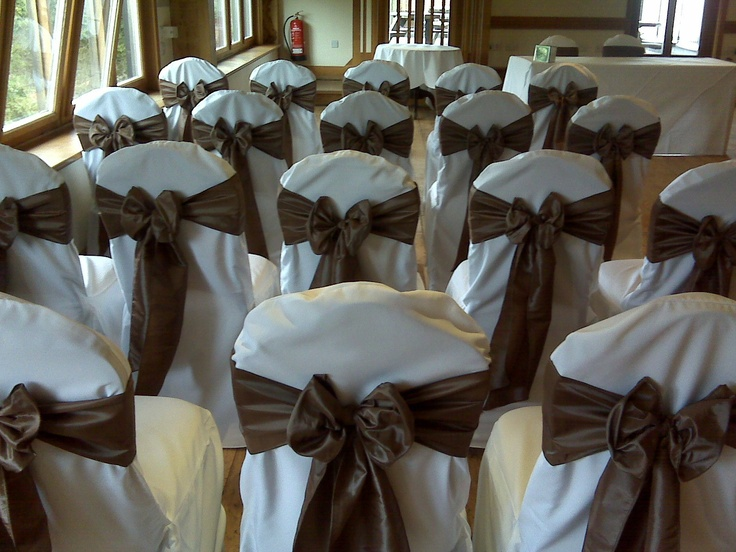 Mocha Satin Bows on Ivory Chair Covers