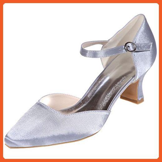 LOSLANDIFEN Women's Pionted Toe Kitten Heels Satin Ankle Strap Pumps Platform Wedding Shoes(0723-07Silk41,Silver) - Pumps for women (*Amazon Partner-Link)