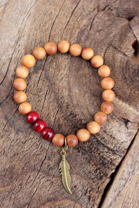 SANDALWOOD Tribal Bracelet Natural Organic by WildPeopleFreeSpirit