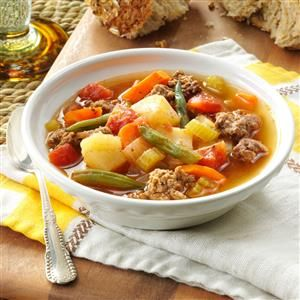 Contest-Winning Hearty Hamburger Soup Recipe, less carrot & more potato.  I added a few red pepper flakes.