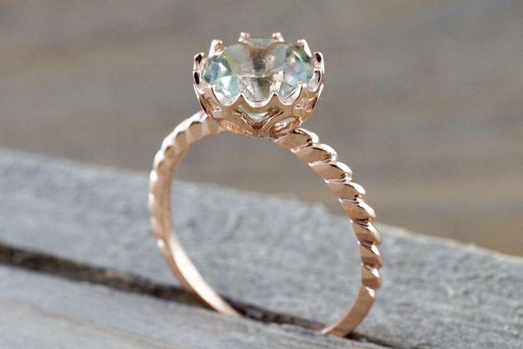 Melrose 14k Rose Gold 8mm Round Green Amethyst Engagement Ring February Birthstone