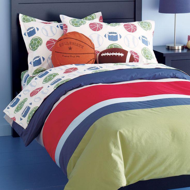 Best 25 sports bedding ideas on pinterest boys sports for Boys sports themed bedroom ideas