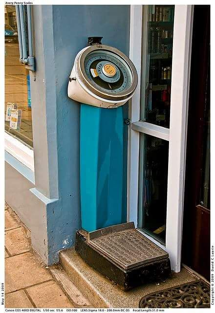 Weighing scales back in the day.  Actually we still have these in the public toilets in Weymouth