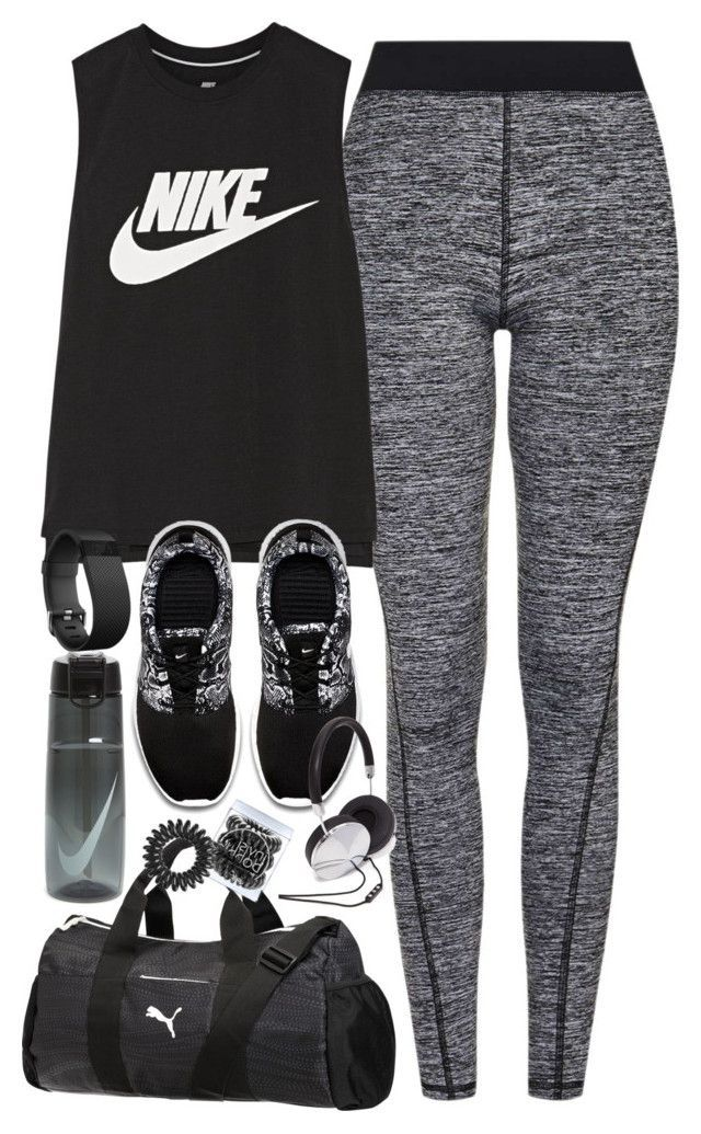 """Outfit for the gym"" by ferned on Polyvore featuring Topshop, NIKE, Puma, Fitbit, Invisibobble and Forever 21"
