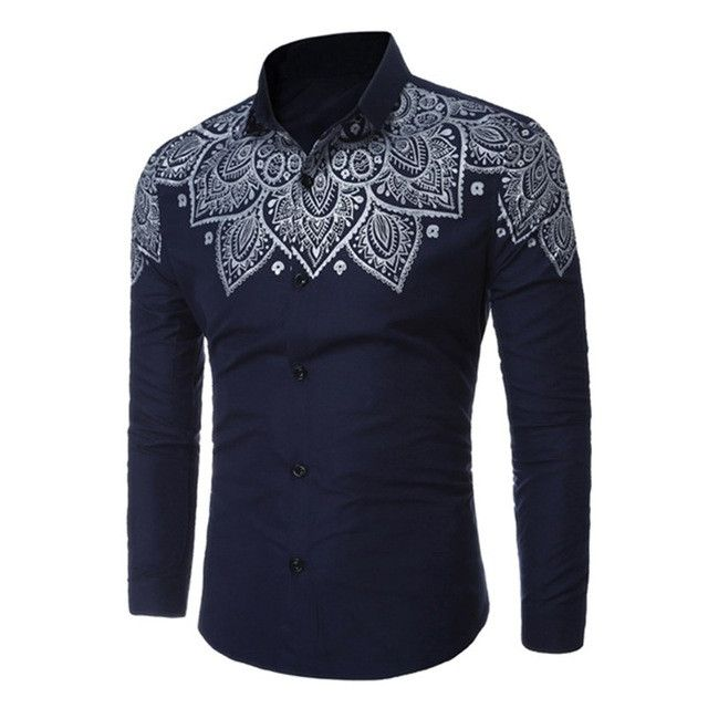 2017 Fashion Mens Printed Shirt Brand New Stylish Male Turn-down Collar Long Sleeve Slim Fit Dress Shirts Casual Men Clothes Top