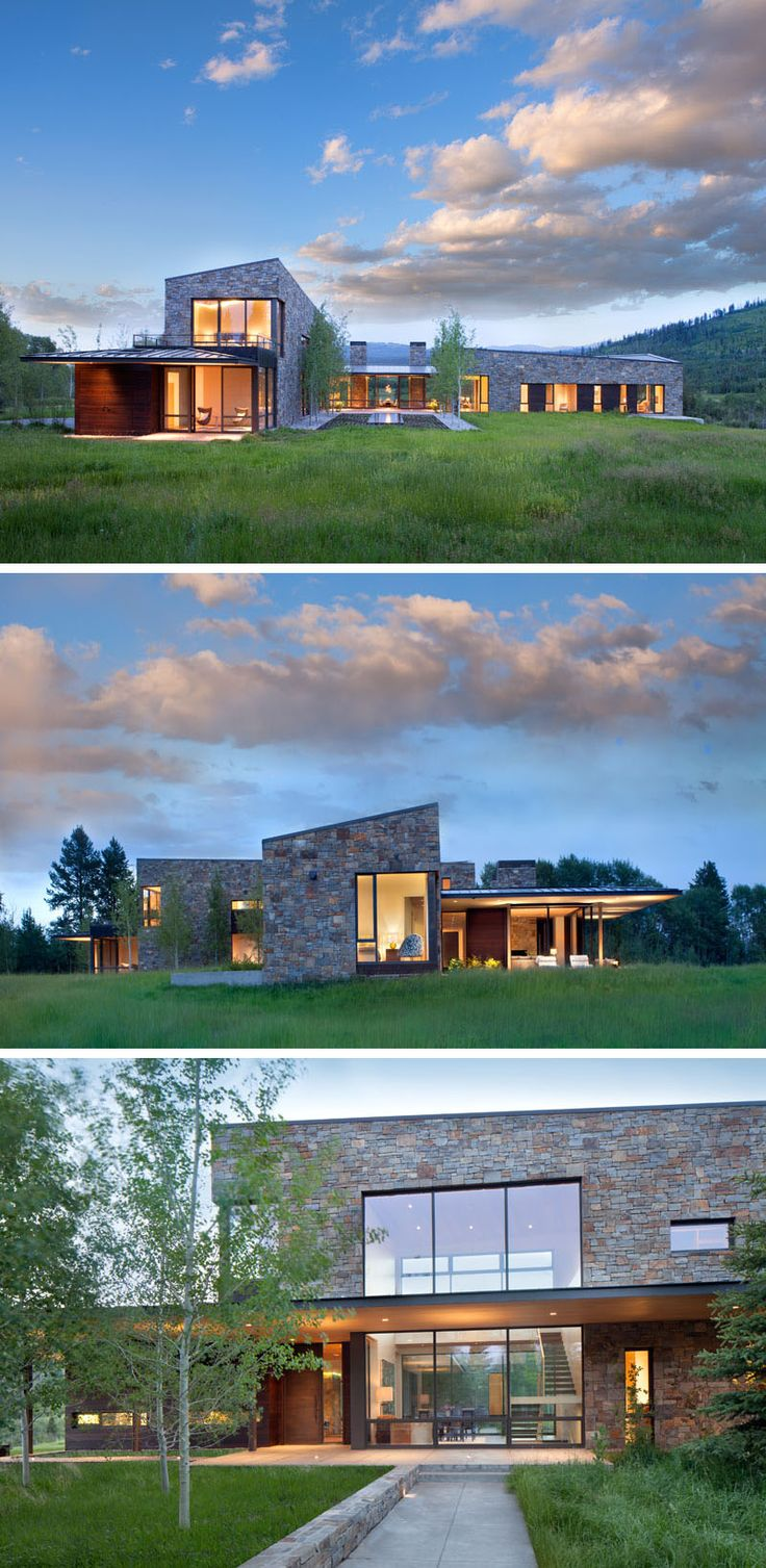 Carney Logan Burke Architects have designed a contemporary house in Wilson, Wyoming, that sits on a 40-acre site at the base of the Teton Range. #ModernHouse #Architecture