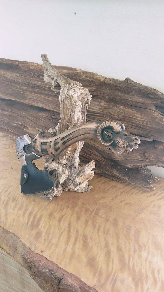 Kleine Axt, einzigartige Axt, Axt mit Mantel, handgemachte Axt, geschnitzte Griff, Wikinger Axt, von Hand geschnitztE Axt, geschnitzte Griff Axt, Jagd Axt, Jagd Geschenk