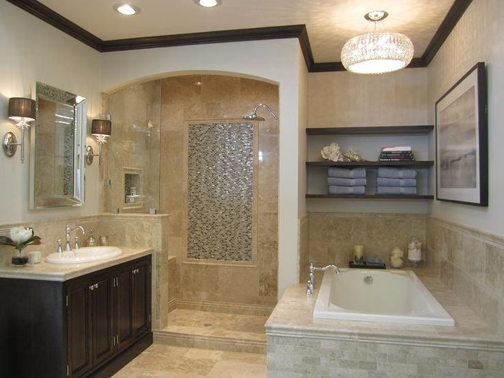 Very tastefully done for a small space.  Love the contrast ceiling trim as well as shower arch.