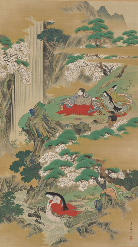 Suzuki Kiitsu, Japanese, 1796-1858, The Demon Shutend?ji on Mt. ?e Viewing Cherry Blossoms, Japan, Edo period (1615-1868), ca. 1844-58, Hanging scroll; ink, color, and gold paint on silk, Image: 173 × 98 cm, Overall with mounting: 223 × 111.6 cm, Lent by Feinberg Collection, © Robert and Betsy Feinberg.