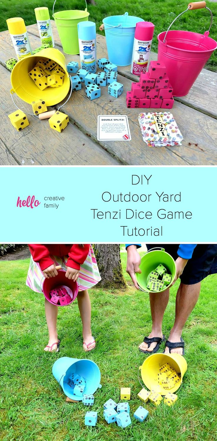 Summer just got a whole lot more fun with this fabulous weekend family project! Create your own set of brightly colored, DIY Tenzi Outdoor Yard Dice Game with this kid-friendly tutorial using Rust-Oleum Ultra Cover 2x spray paint: http://spr.ly/64918YbAf