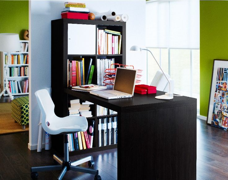 IKEA study space featuring the EXPEDIT desk with shelving. Courtesy IKEA.