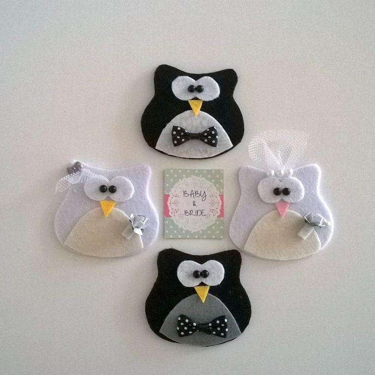 Dolgusuz Gelin & Damat baykuş magnetler / Unfilled Bride & Groom Owl magnet souvenir for weddings