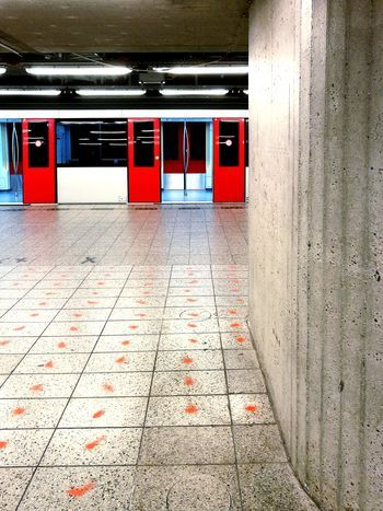 Red Architecture Indoors No People Built Structure Day Coulorsplash City Doors Window Subway