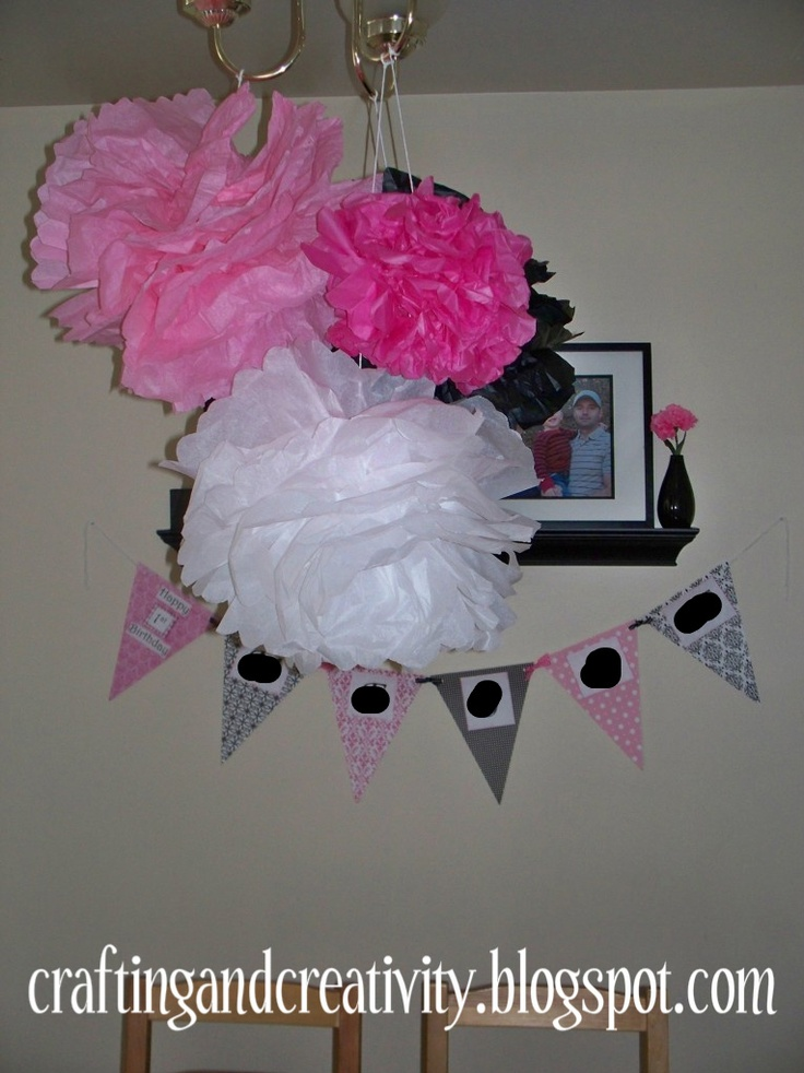 Crafting and Creativity: girl's 1st birthday party- black, white, and PINK theme