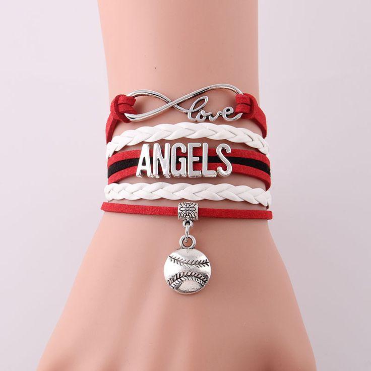 Infinity Love Los Angeles Angels bracelet Sport  rope Baseball charm bracelets & bangles for women men jewlery Drop Shipping
