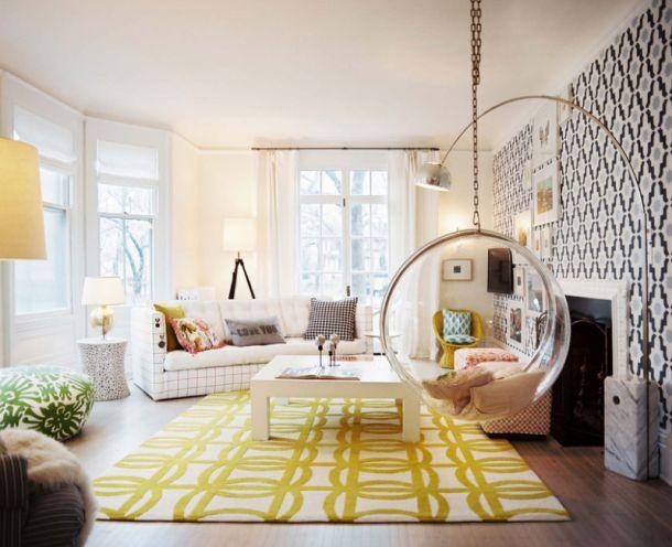 сочетание цвета обоев, подвесное кресло