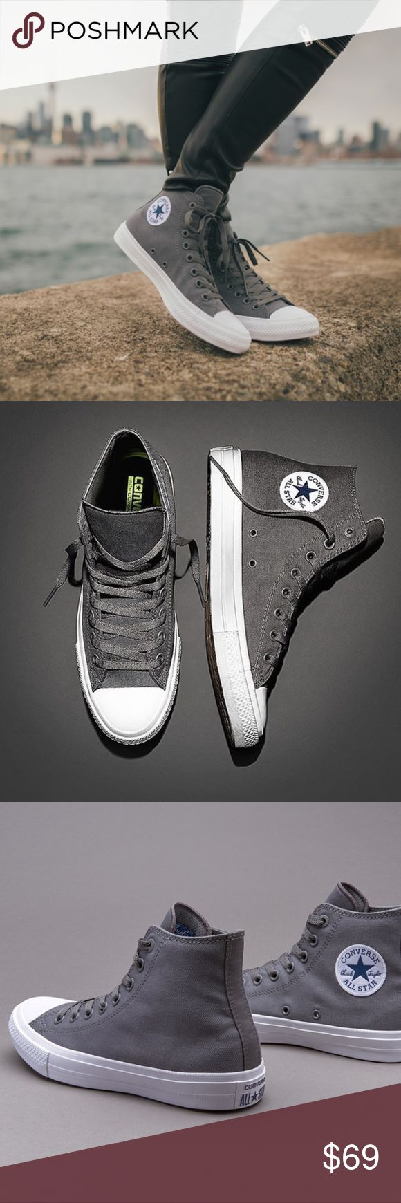 NWT Converse Chuck II 2 Hi Top Gray Nike Lunarlon - New in box! - Great neutral shoe for everyday use! - Converse Chuck Taylor All Star II with Nike Lunarlon insoles for extra comfort - Size: Women's size listed - Fit: True to size - Grey Gray White Converse Shoes Athletic Shoes