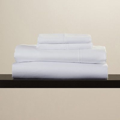 Symple Stuff Cotton Blend 600 Thread Count Solid Sheet Set Size: California King, Color: White