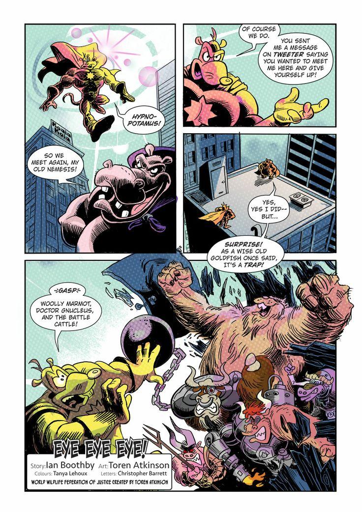 "Page 2 of ""Eye Eye Eye"" comic. Published in Mega-Fauna anthology by Cloudscape Comics"