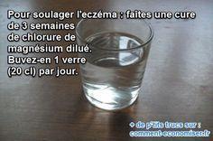 Les plaques provoquées par l'eczéma sont irritantes et démangent énormément. Afin de soulager un peu les crises provoquées par l'eczéma, il existe heureusement des remèdes naturels.  Découvrez l'astuce ici : http://www.comment-economiser.fr/chlorure-magnesium-eczema.html?utm_content=buffer3cfb6&utm_medium=social&utm_source=pinterest.com&utm_campaign=buffer
