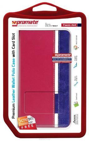 Promate Teem-N4 чехол для Samsung Galaxy Note 4, Pink  — 353 руб. —  Чехол для планшета Teem-N4 заслуженно любим пользователями. Это чехол из кожи премиум класса, который помимо телефона готов вместить в себя предметы первой необходимости (карты, деньги). Этот премиум-чехол оснащен специальным отделением для карт, а также может служить подставкой для горизонтального просмотра информации с экрана вашего мобильного телефона. Идеальные технические вырезы точно соответствуют всем кнопкам и…