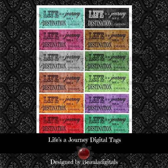 Life's a Journey Digtal Tags   Instant Download by Beauladigitals