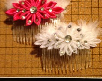 Satin Kanzashi Flower Comb 8 colors to choose from by RosesBowses