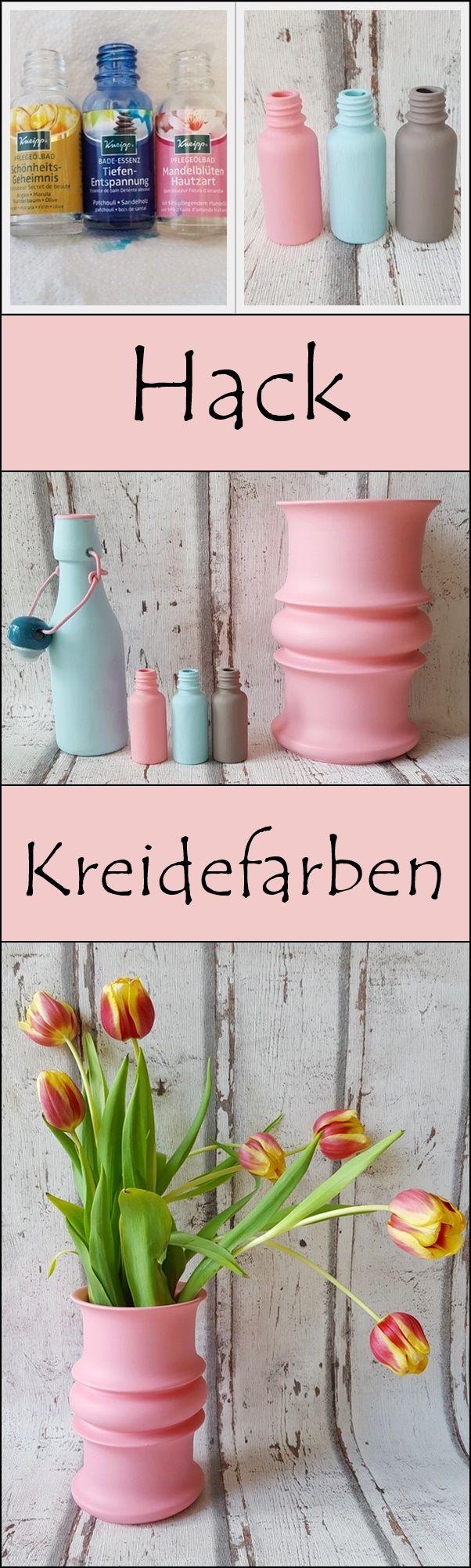 Upcycling! Vasen basteln aus Kneipp Flaschen – Vasen mit Kreidefarbe