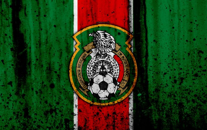 Download wallpapers Mexico national football team, 4k, emblem, grunge, North America, football, stone texture, soccer, Mexico, logo, North American national teams