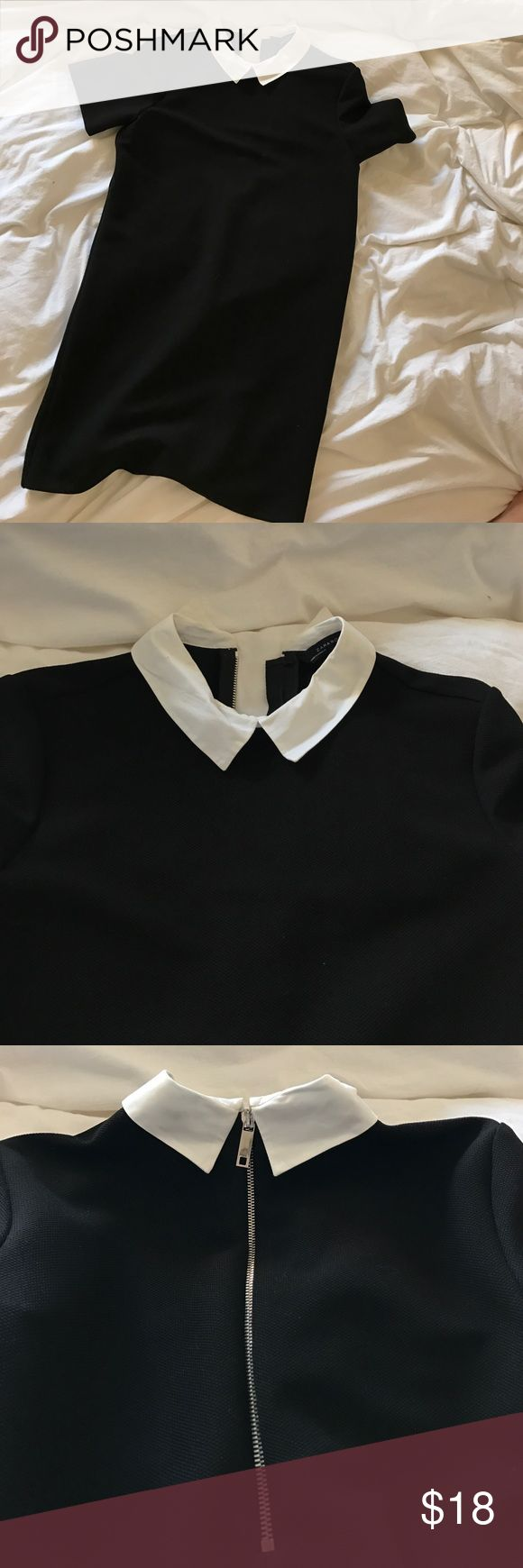ZARA Wednesday Addams black and white collar dress Such a great dress - wear it all year and even Halloween! Lol. White poplin collar, black shirt dress, silver zip up back. In gr8 condition. Bundles and offers welcome Zara Dresses Mini