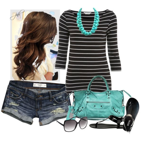 Turquoise and black stripesFashion, Weekend Outfit, Style, Clothing, Turquoise Bags, Necklaces, Hair, Black, Longer Shorts