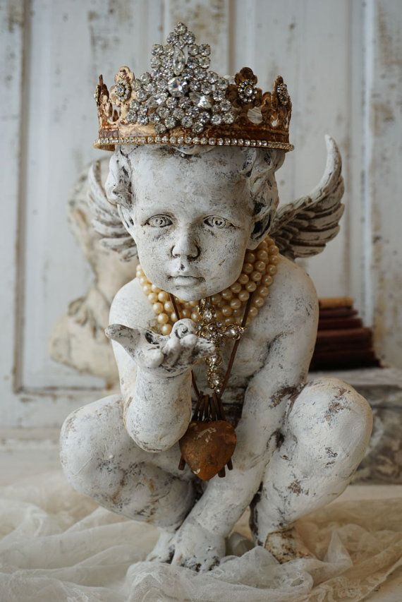 Angel cherub statue painted distressed French by AnitaSperoDesign