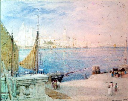 Venise, avant le Campanile Fell de Albert Goodwin (1845-1932, United Kingdom)