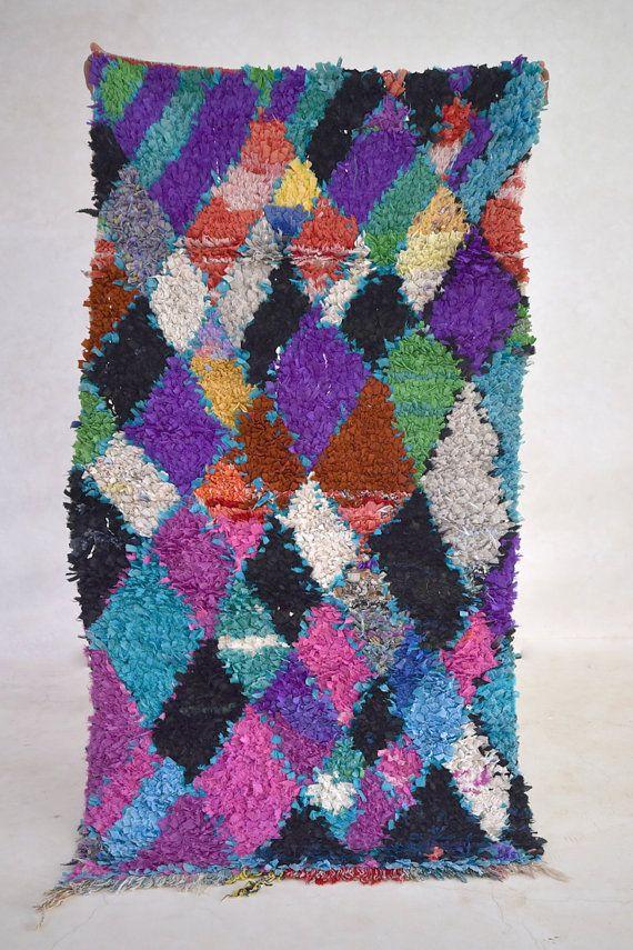 BAY OF BENGAL 5'9 x 3' Boucherouite Rug. Vintage by pinkrugco