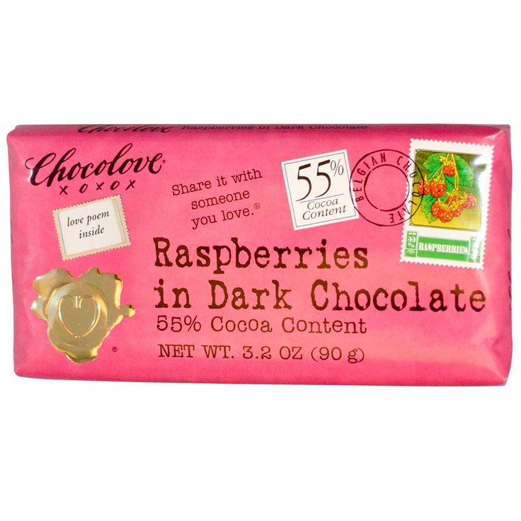 Chocolove, Raspberries in Dark Chocolate, 3.2 oz (90 g) - iHerb.com