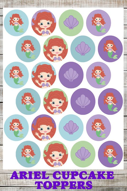 Ariel Cupcake Toppers, Birthday Party, Princess Party: Ariel Cupcake ...