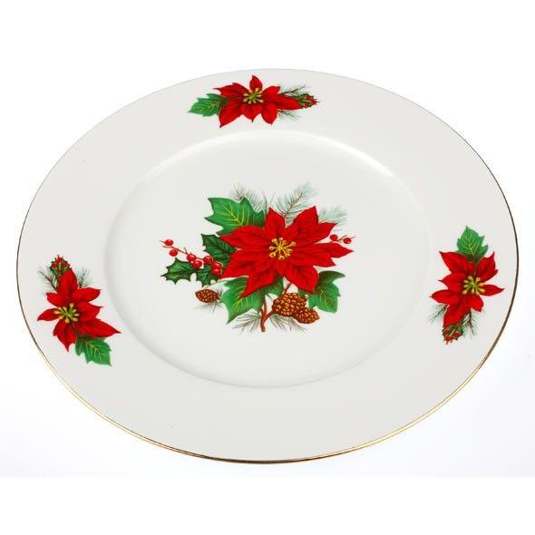 Εορταστική πρόταση για σας που τα Χριστούγεννα έχουν χρώμα κόκκινο-πράσινο-χρυσό. Σετ 6 τεμαχίων πιάτα ρηχά, από φίνα πορσελάνη, σχέδιο Αλεξανδρινό.