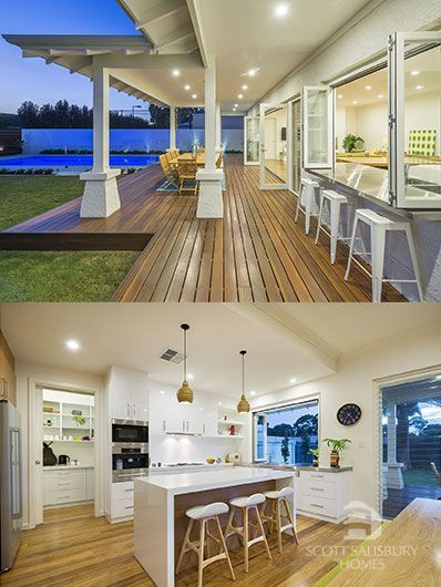 This layout looks very close to something we would like, I wish there were bigger photos, or a floor plan to see. Pantry with door, double wall oven, decent island, servery window to outside stools at bench. Awards | Scott Salisbury Homes
