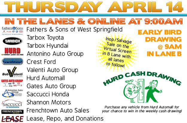 Join us in the lanes and online tomorrow, Thursday, April 14 with Tarbox Toyota, Tarbox Hyundai, Fathers & Sons of West Springfield, Antonino Auto Group, Hurd Automall, Gates Auto Group, Crest Ford, Valenti Auto Group, Saccucci Honda, Auto Solutions, Brustolon Buick GMC, Lance Inc., Shannon Motors, Frenchtown Auto Sales, Town & Country, Lease, Repo, and Donations