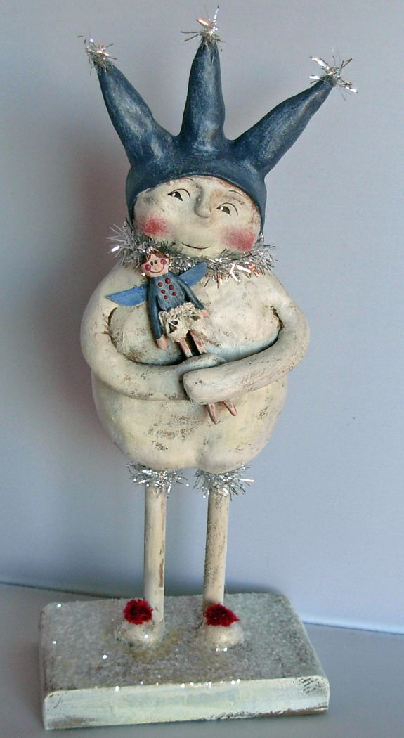 >BOY HOWDIE PAPIER MACHE FOLK ART by Dawn Tubbs, Folk Art Snowman with Doll