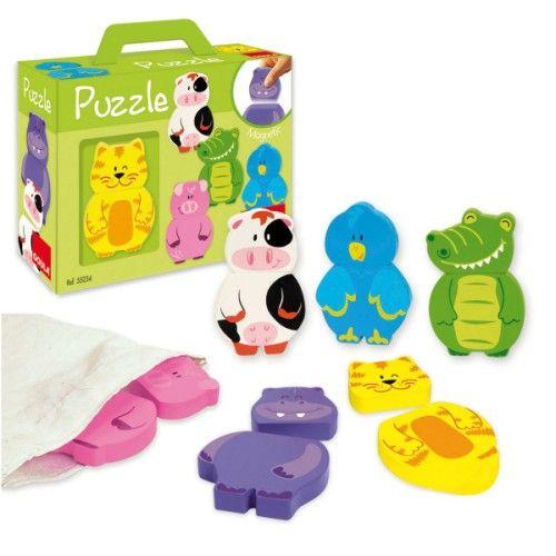 Dans un sac en toile, l'enfant découvre 12 pièces en bois aimantées et faciles à manipuler. En les assemblant deux par deux, une tête et un corps, l'enfant reconstitue 6 animaux : une vache, un cochon, un crocodile, un oiseau, un chat et un hippopotame. Et pourquoi ne pourrait-il pas aussi laisser libre cours à son imagination et inventer de nouveaux animaux