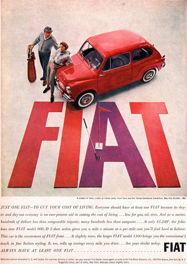 Red Fiat Model 600 D Sedan, 1961