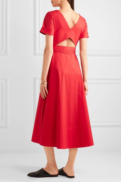 Saloni - Zoey Cutout Stretch-cotton Poplin Midi Dress - Red - UK