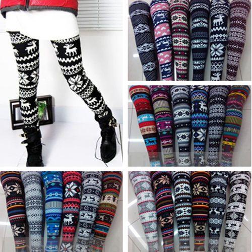 under $5!!!! Autumn Warm Winter Women's Nordic Deer Snowflake Knitted Leggings Tights Pants