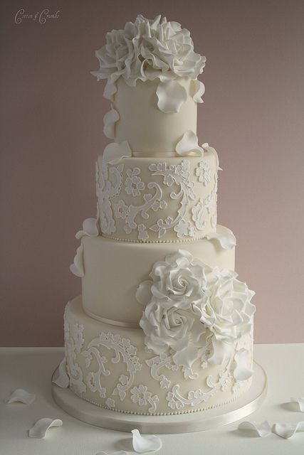 Lace Wedding Cake - would prefer no flowers.
