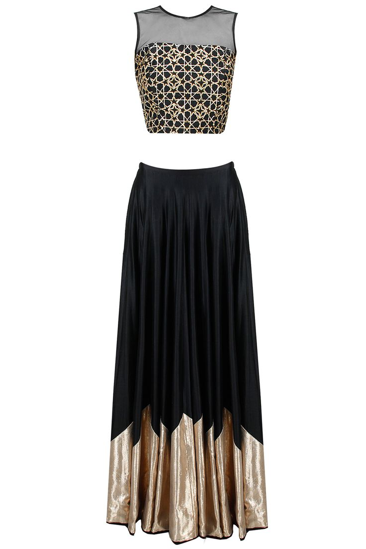 Black star embroidered lehenga set available only at Pernia's Pop-Up Shop.