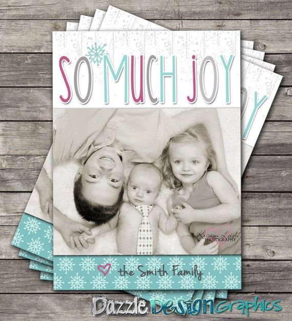 """So Much Joy Christmas Photo Greeting Card by DazzleDesignGraphics, $12.00 Buy from our Etsy shop: http://www.etsy.com/shop/DazzleDesignGraphics """"Like"""" our Facebook page! http://www.facebook.com/DazzleDesignGraphics"""
