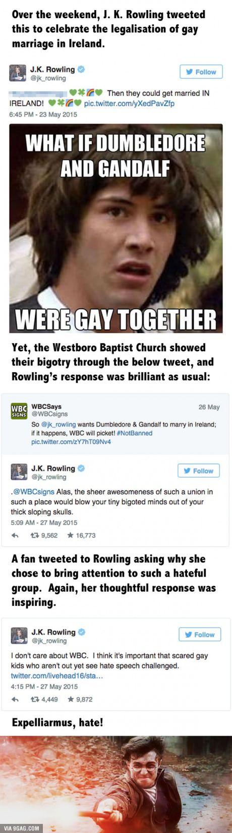 J.K. Rowling Tweet Slams The Westboro Baptist Church For Their Hateful Message. You da real MVP!